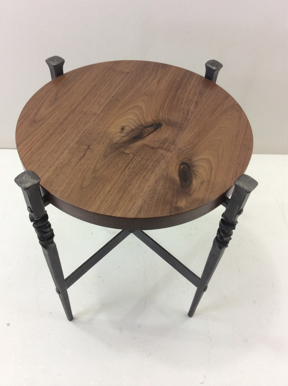 Hand forged Steel table with twist and circular wood top