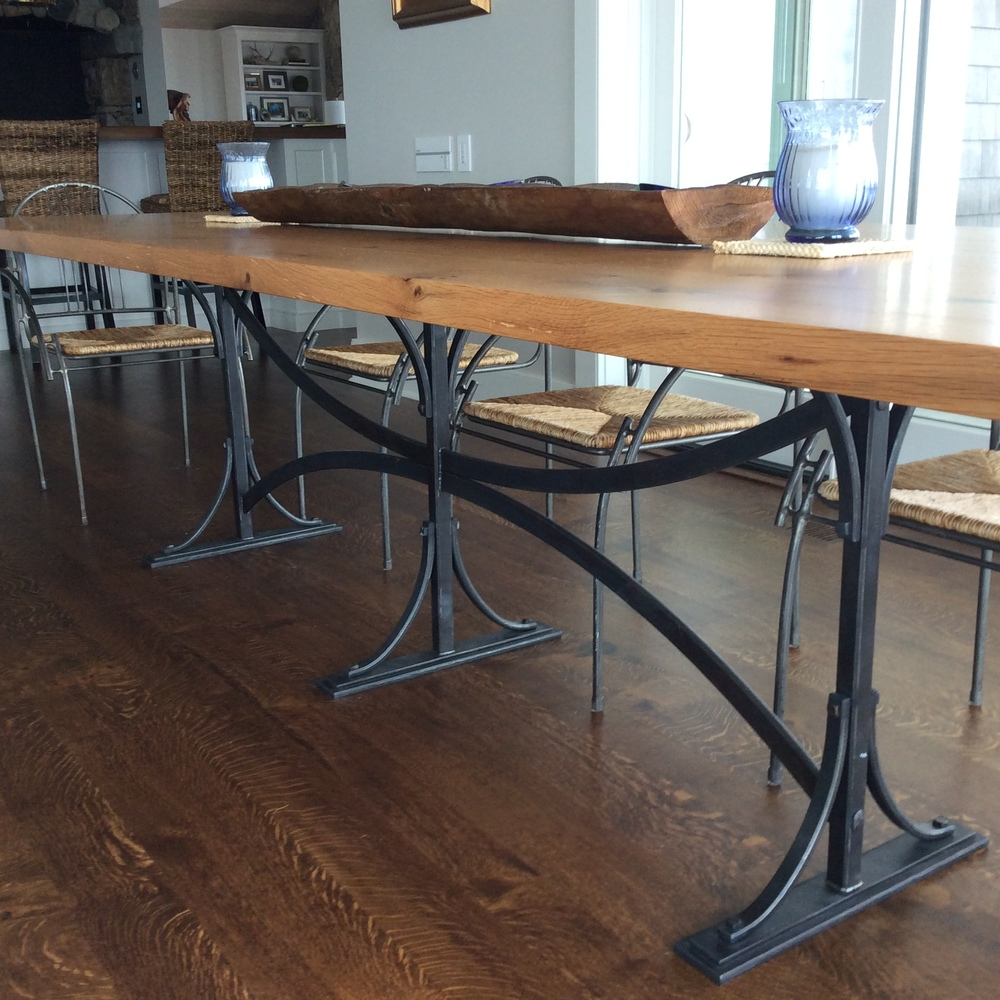 Hand forged kitchen table base