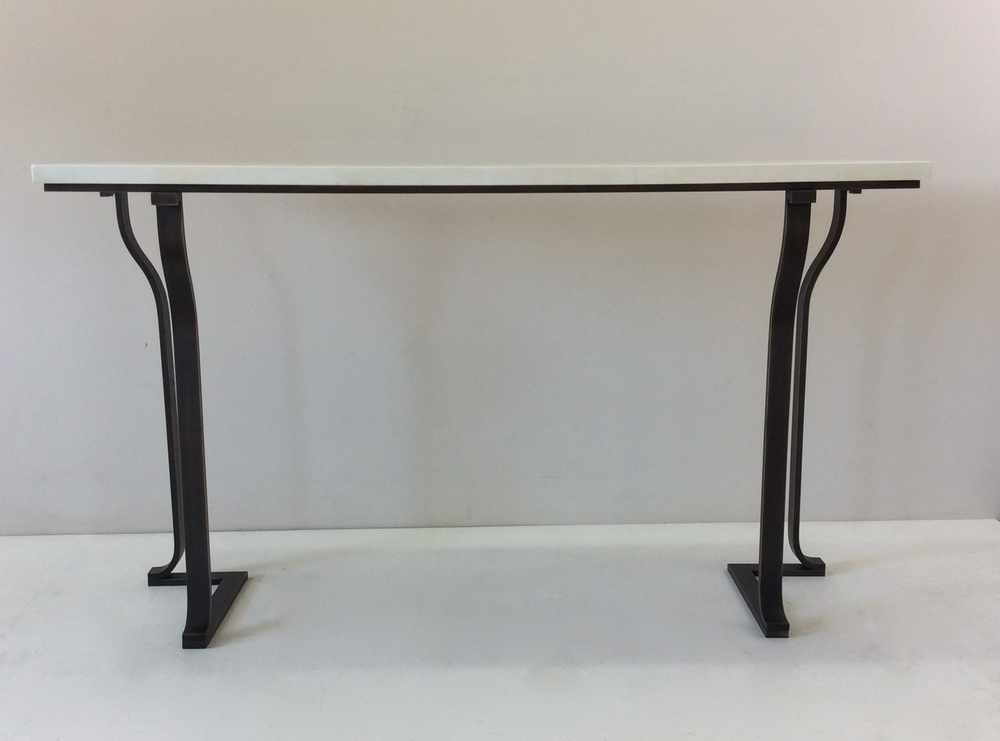 Dark patina bronze console table with white top