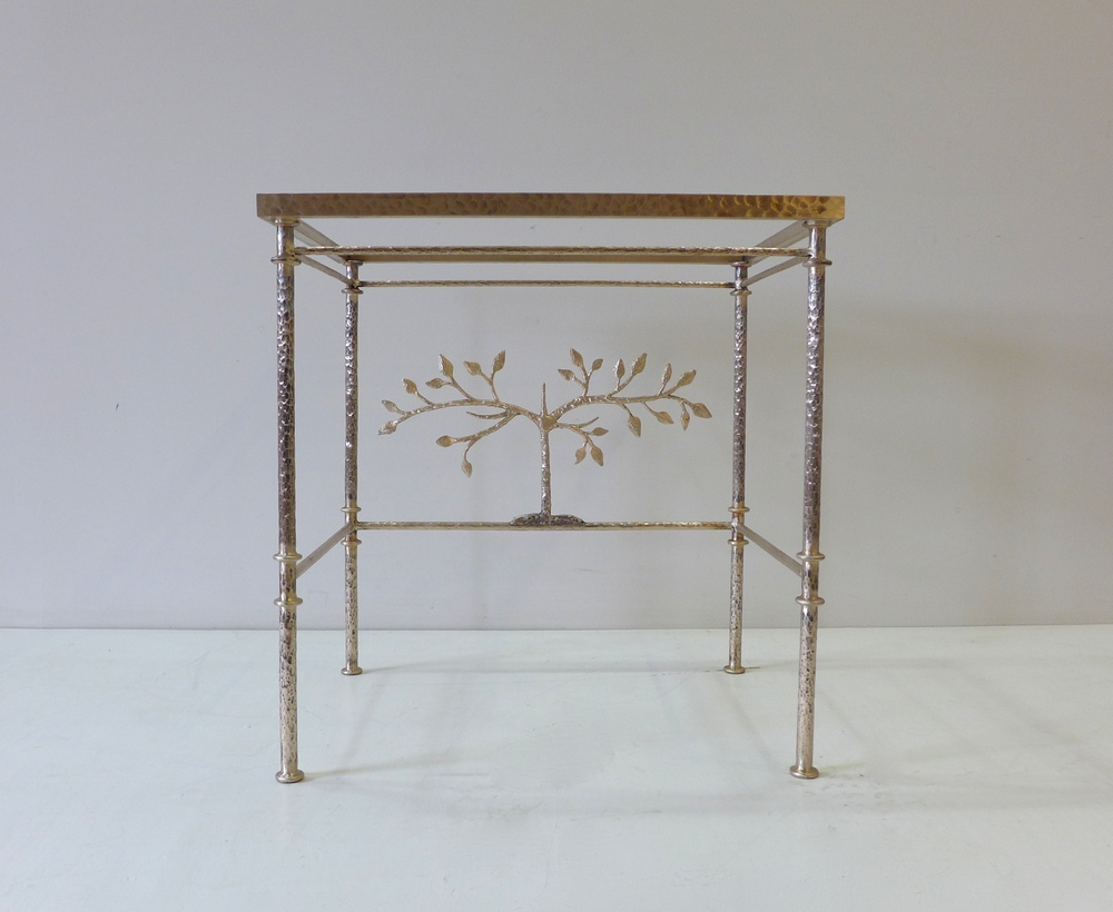 Giacometti inspired bronze console table with Tree of Life