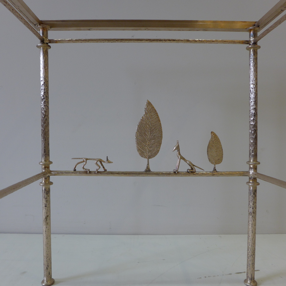 Giacometti inspired bronze coffee table with Wolf, Fox and Leaf