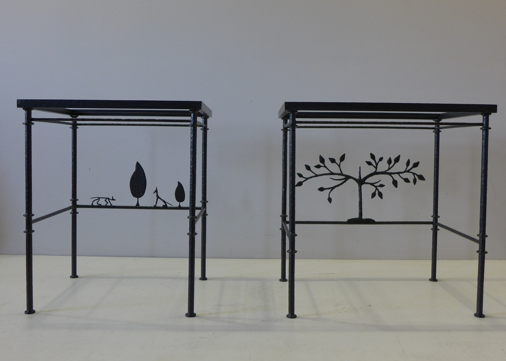 Giacometti inspired bronze tables
