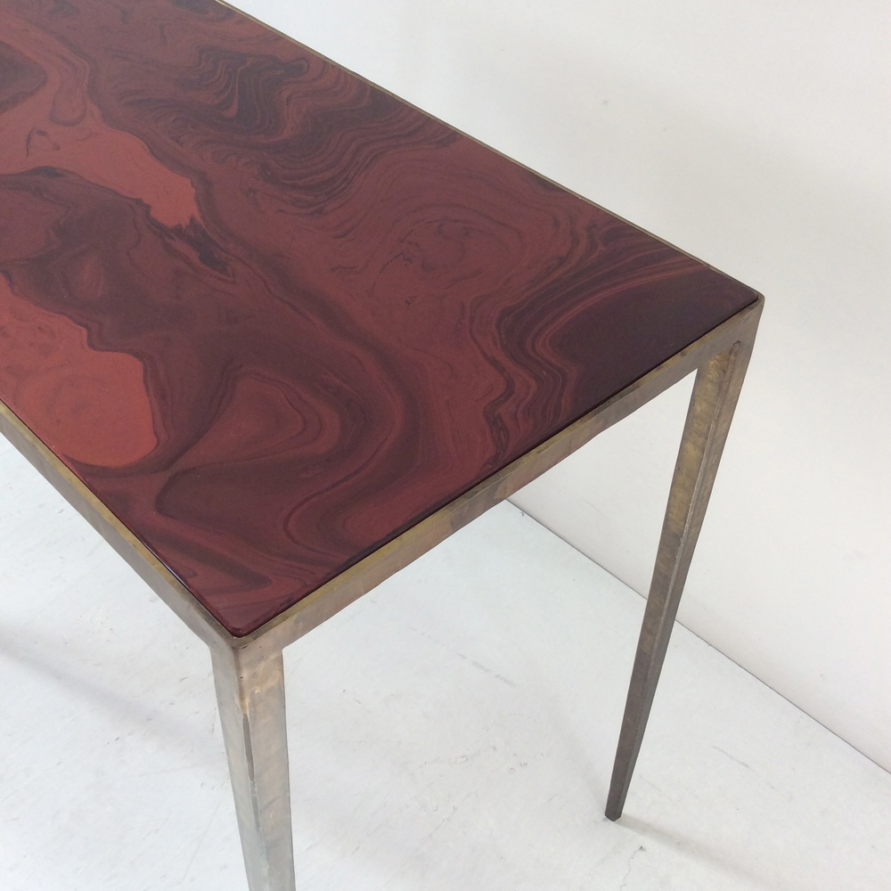Dirty bronze patina console table with glass top