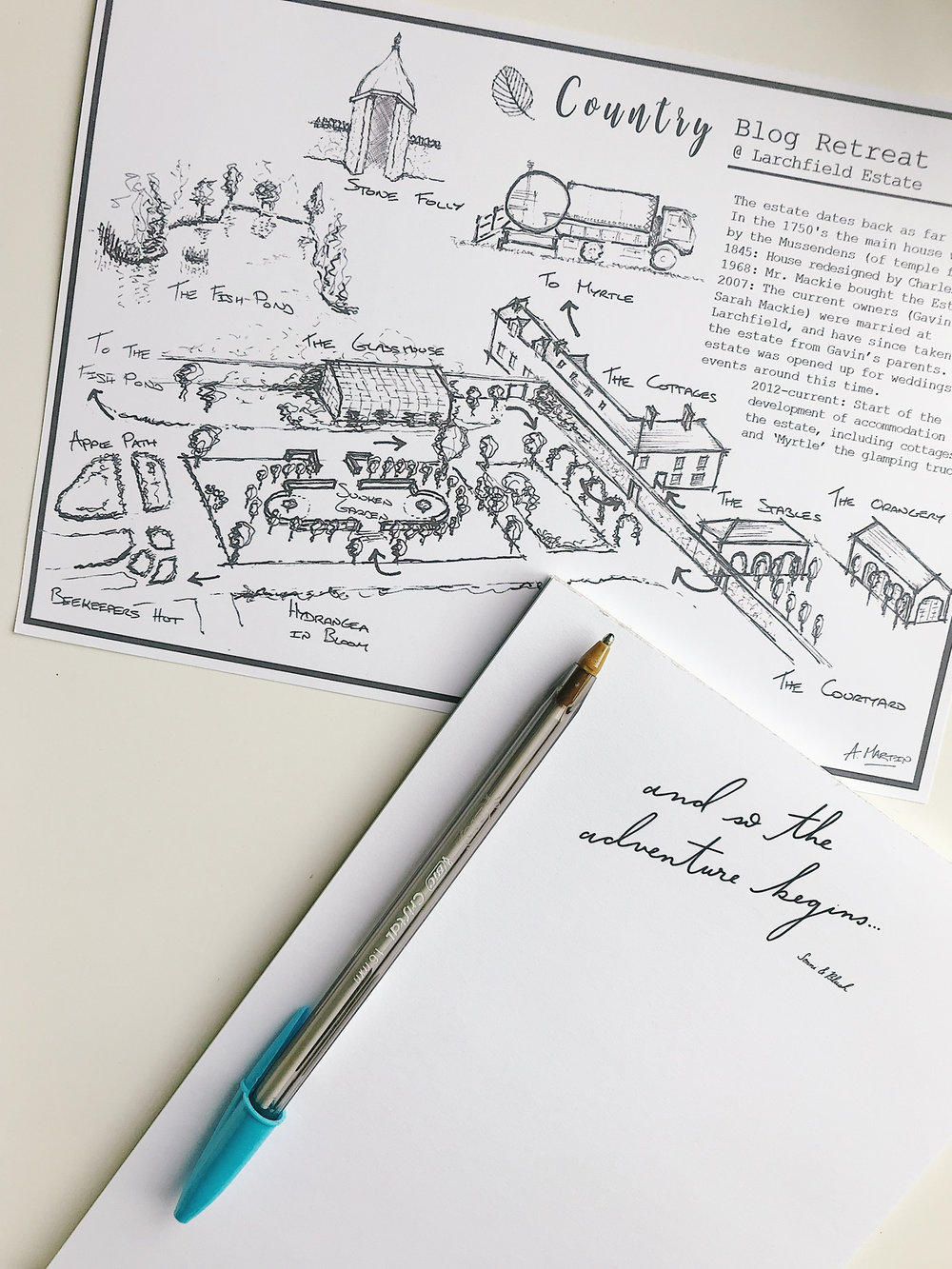 Hand drawn map of Larchfield by Andrew Martin @littlewoodmr and @sonniandblush bespoke notepad