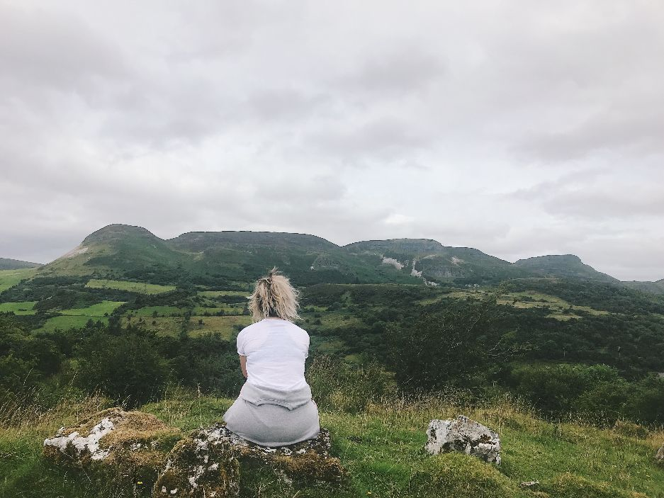 Zoe taking in the view of 'The Sleeping Giant' - half in Co. Leitrim, half in Co. Sligo