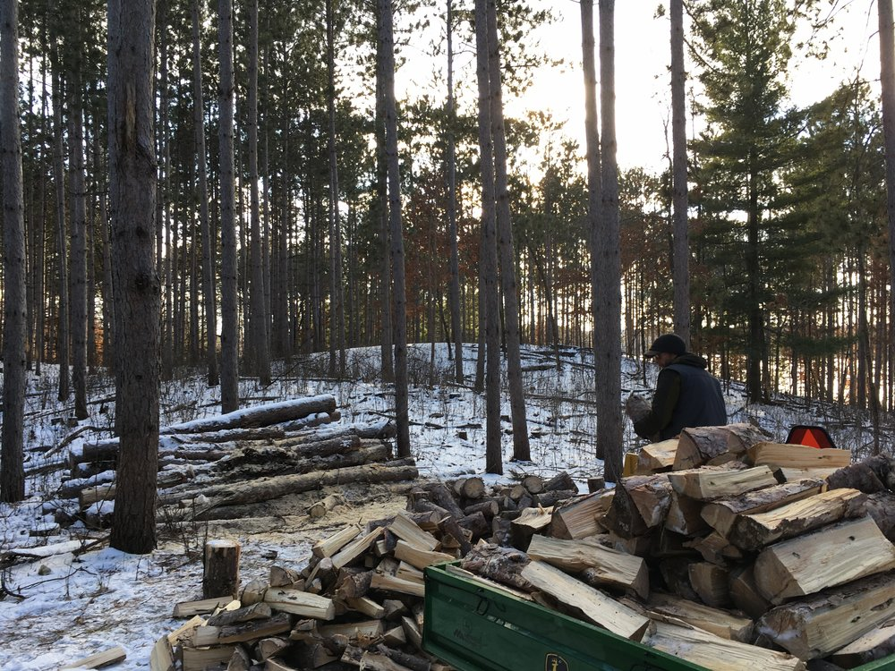 Kenny splits wood in a silent winter forest.