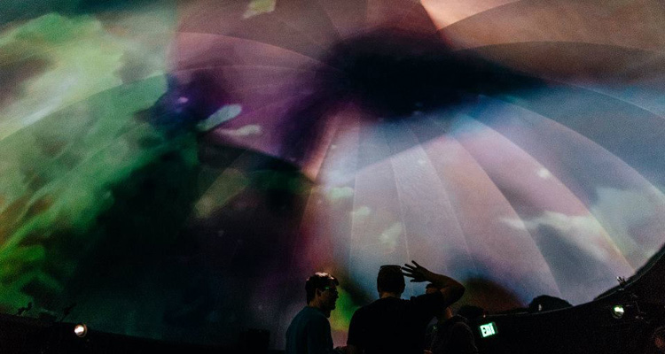 Soundwave 7 Launch party in June at Obscura Digital featuring artists Elia Vargas and Nathan Blaz in the Obscura projection dome