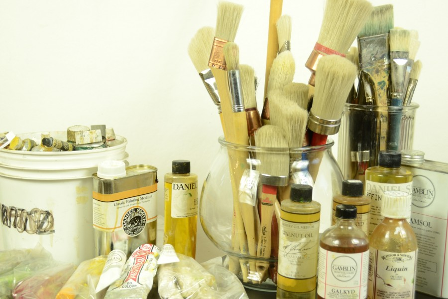 Oil paints   RandF oil sticks in the plastic bags are the silkiest and smoothest, lots of Paris purchaced house painting brushes shown.