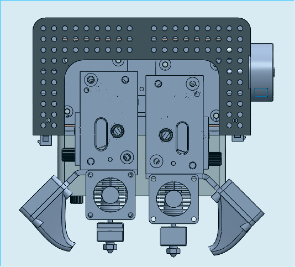 Modular cartridge mechanism allows for swapping of different printheads and processes (FDM, paste, marking/engraving, machining)