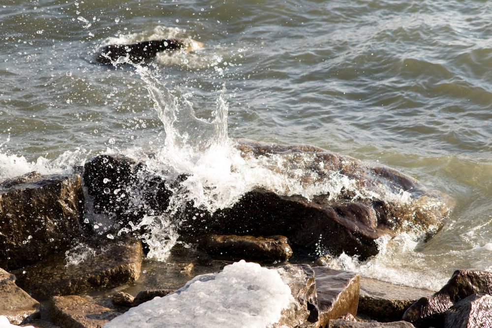 Water splashing up on rocks in Long Branch Park, Toronto. January 25th.