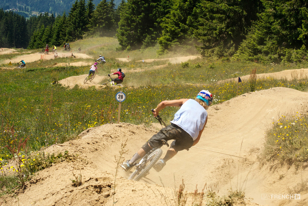 Riders descend Super Morzine, France.