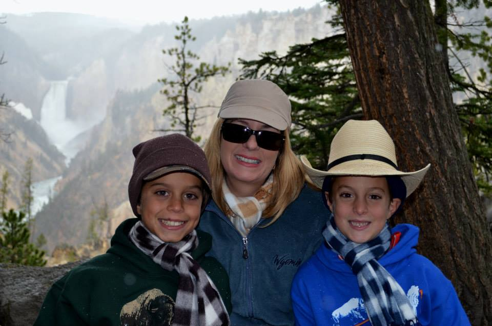On vacation in Yellowstone National Park with my boys.