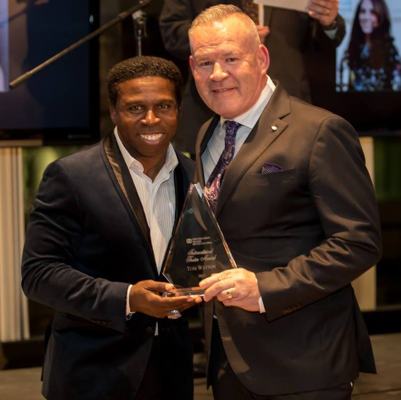 """Thank you  Michael """"Pinball"""" Clemons  for delivering an inspiring speech and helping Tom hold that heavy award!"""