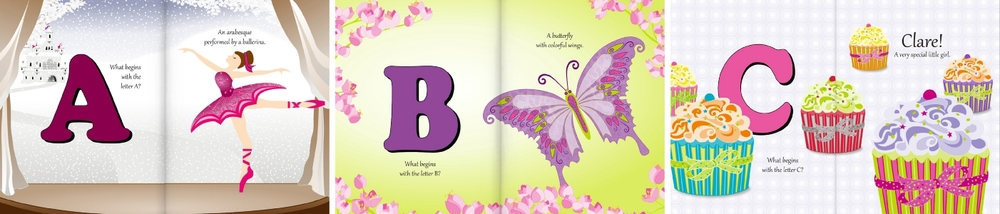 My Alphabet World - Butterflies, Fairies, Cupcakes & More personalized for Clare.