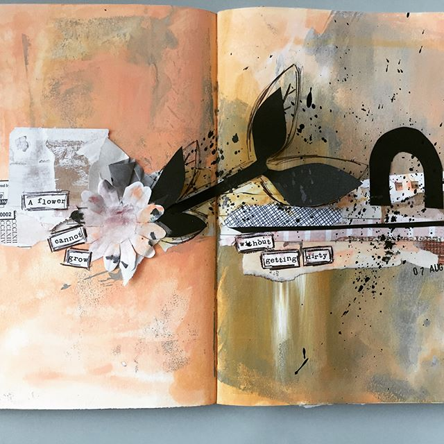 A mixed media collage spread I did last night using some scraps, vintage papers and clippings for the @raemissigman #artmarks30daychallenge Prompt WIDE #mixedmedia #artjournal #artjournaling #sketchbook #collage #vintagepaper