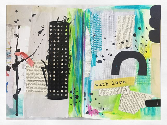 My creative mojo is starting to return since welcoming Mackenzie into our family. I'm preparing to embark on a new creative project and my mixed media journal will be the heart of this, a place where I feel safe and comfortable to be messy and experiment and to create for myself with no pressure. I know these collage and mixed media journal spreads will give me confidence and inspiration for new sketches and illustrations to add to a new portfolio to bring my dream to fruition #mixedmedia #collage #artjournal #strathmorepaper #oilpastel #markmaking