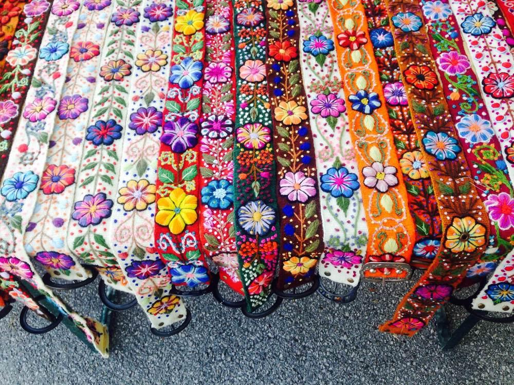 Craft belts at a Salzburg street market