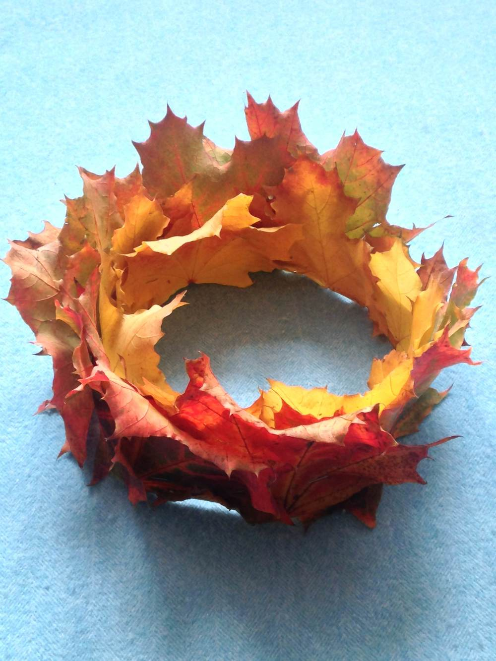 A leaf crown made of maple leaves from the park
