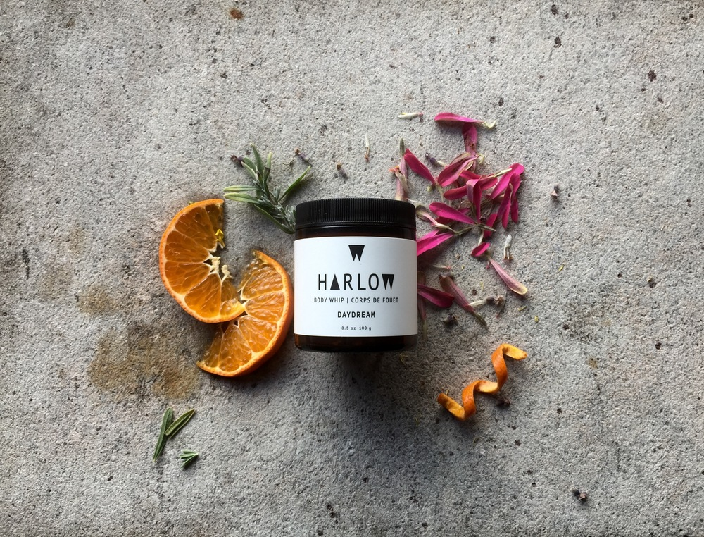 Harlow Skin Co. Daydream Body Whip is housed in a dark amber 3.5 oz glass jar with a plastic lid.The Daydream Body Whip retails for $28 CAD. Harlow Skin. Co has kindly sent me their Daydream Body Whip and Wild Heart Body Butter for review purposes.