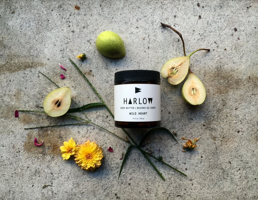 Harlow Skin Co. Wild Heart Body Butter is housed in a dark amber 3.5 oz glass jar with a plastic lid. The Wild Heart Body Butter retails for $28 CAD.