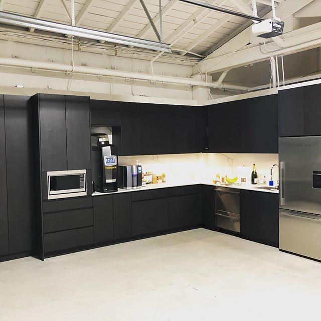 Custom kitchen in black MDF at the offices of the fine folks over @stilhavn