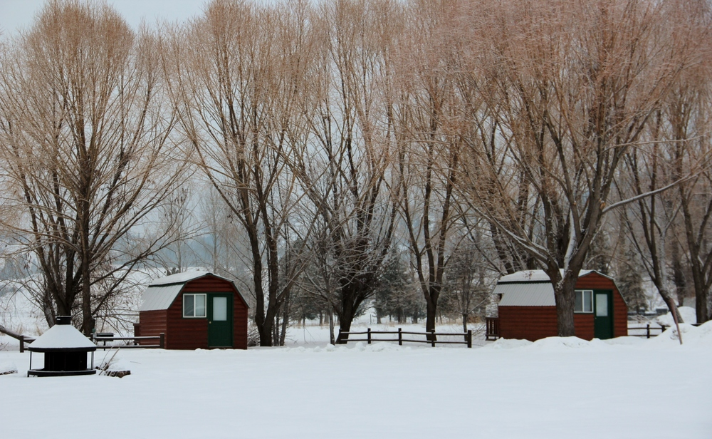 Camper cabins in the winter.