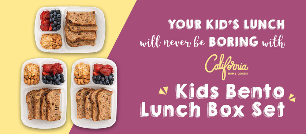 Preparing your kids' lunch with the  California Home Goods Kids Bento Lunch Box Set  is indeed a great tool that will not only help you prepare your kids' lunch in a fun and easy way, but it'll also help you train them to eat healthy.  Our Bento Lunch Box specifically has 5 compartments so you could let your kids eat healthy but with variety. Allot each compartment for a specific food-type so it'll be easier for you to plan their meals, just like this:  PROTEIN Main  CARBS Side Dish  VEGGIE Side Dish  FRUIT Dessert  OTHERS - dips, sauces, favorite snack, sweets (think of it as a bonus compartment for your kid!)  To help you get started, we'll give you 3 easy recipes. You can definitely use all three to complete one lunch meal, or mix and match them for different school days, it's totally up to you.