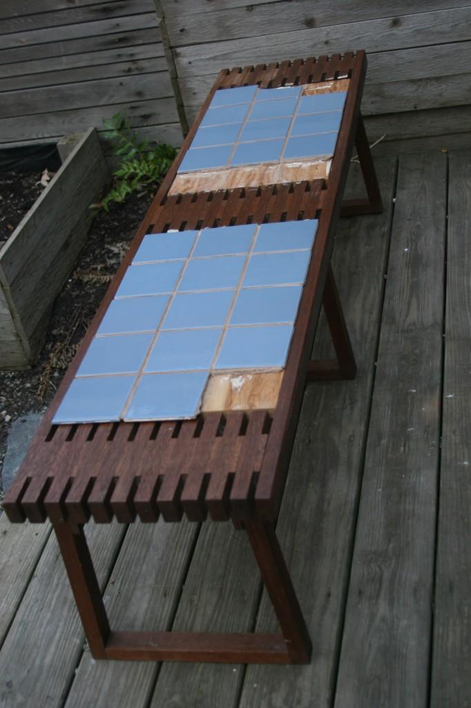 tiled bench