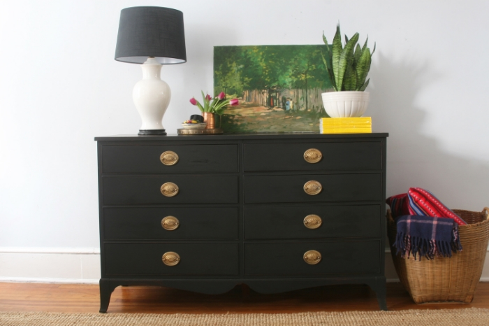 black dresser painted with pitch black milk paint