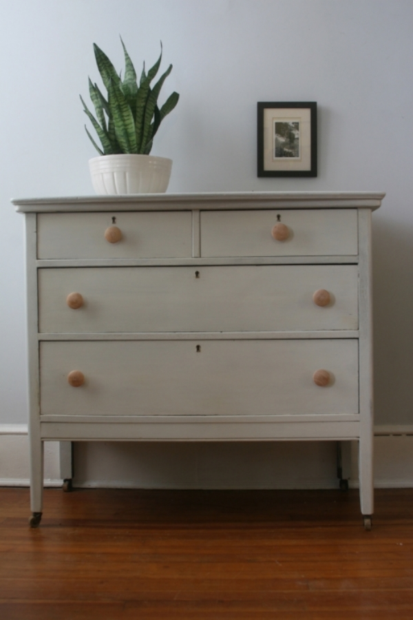dresser painted with oyster white milk paint