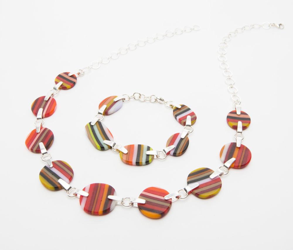 Carved Stripes, necklace and bracelet, 2016