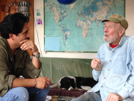 "Tim interviewing Pete Seeger about his famous protest song, ""Deportee (Plane Wreck at Los Gatos),"" September 2013. Photo Credit: Anthony Cody."