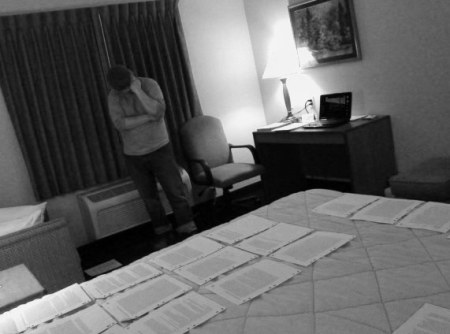 In a hotel room in Sterling, Colorado, putting together the manuscript for Mañana Means Heaven.