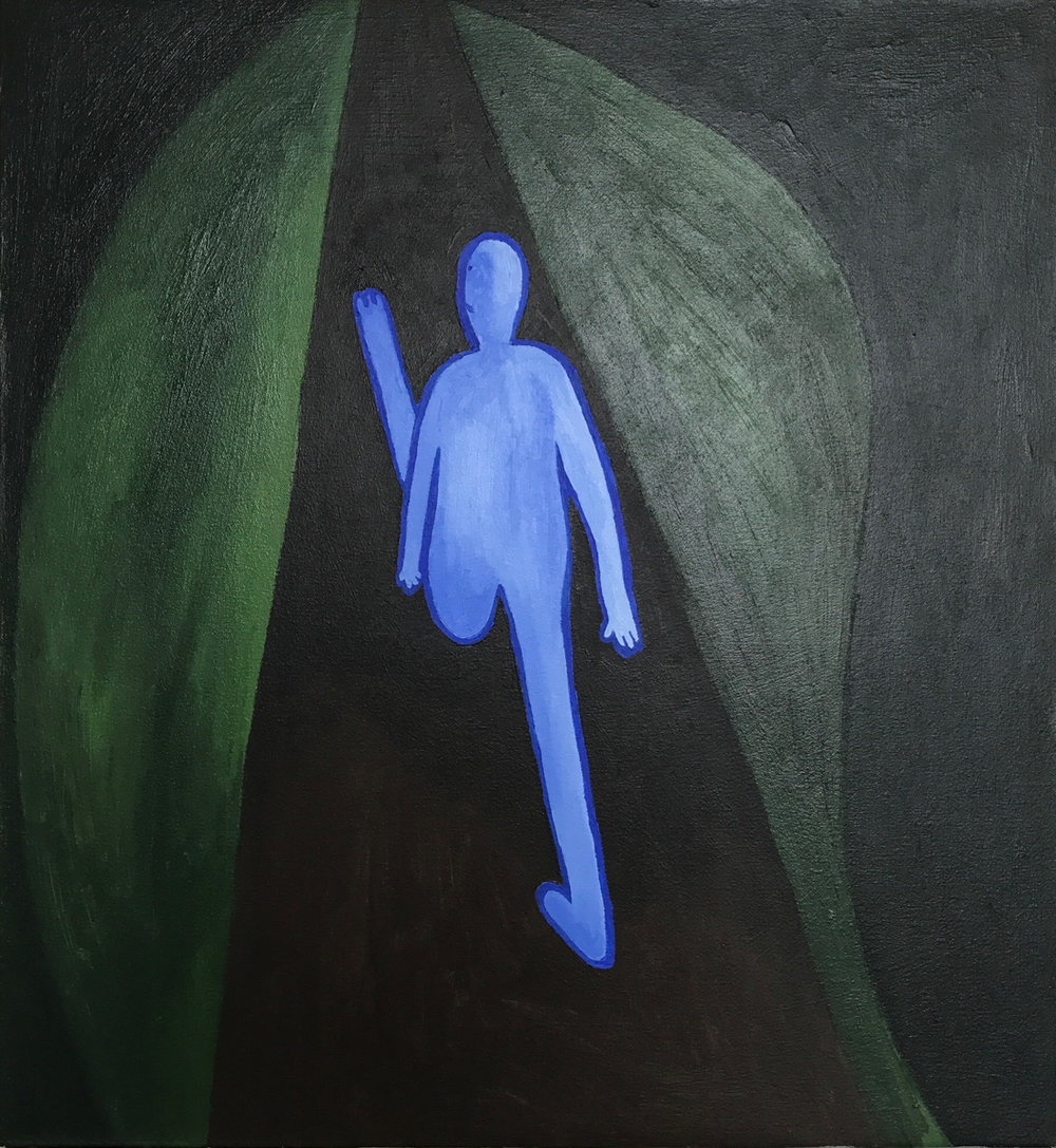 Alex Bradley Cohen, The Long Walk (By Myself), Acrylic on Canvas, 23 x 25 inches, 2016