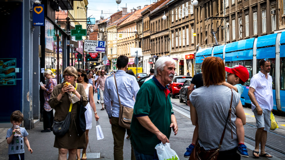 A busy street in Zagreb.