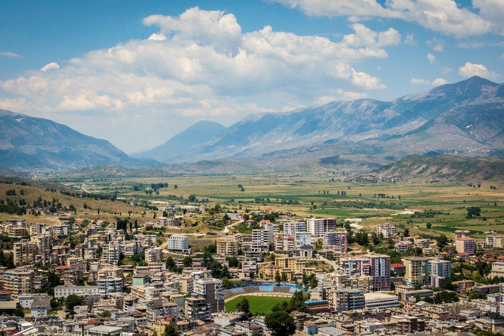 Modern Gjirokastër, as seen from the castle.