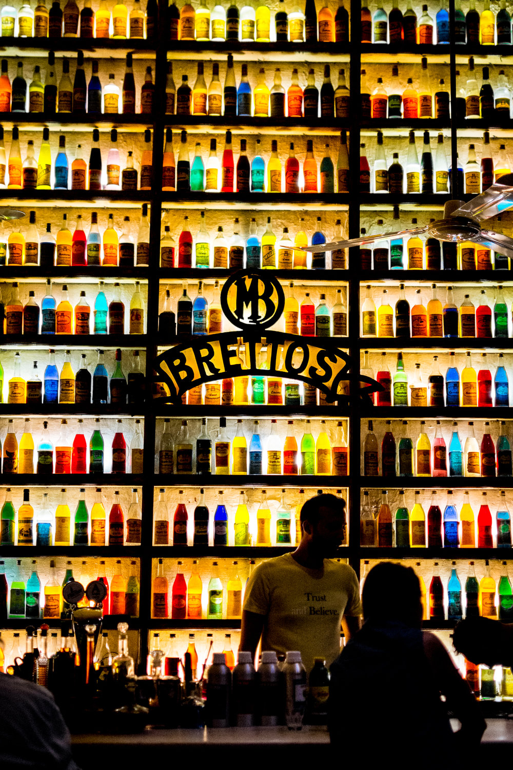 Brettos bar, and their Instagram-famous bottle wall.