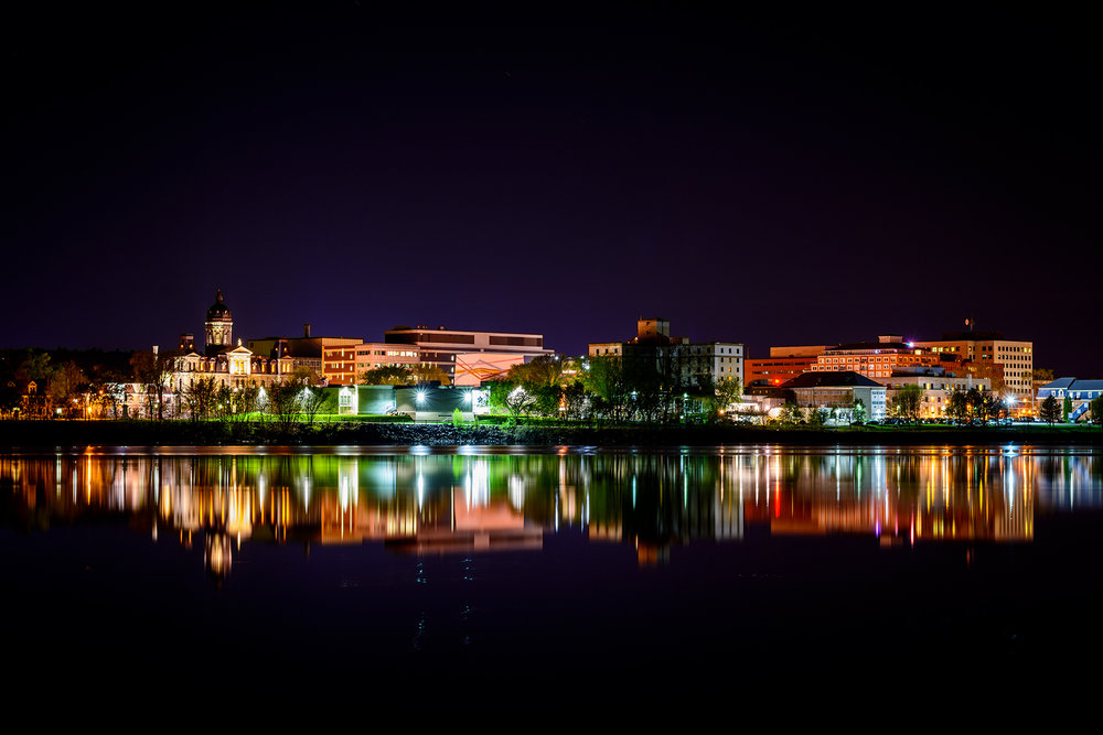 Downtown Fredericton on a clear, still night.  Buy Print