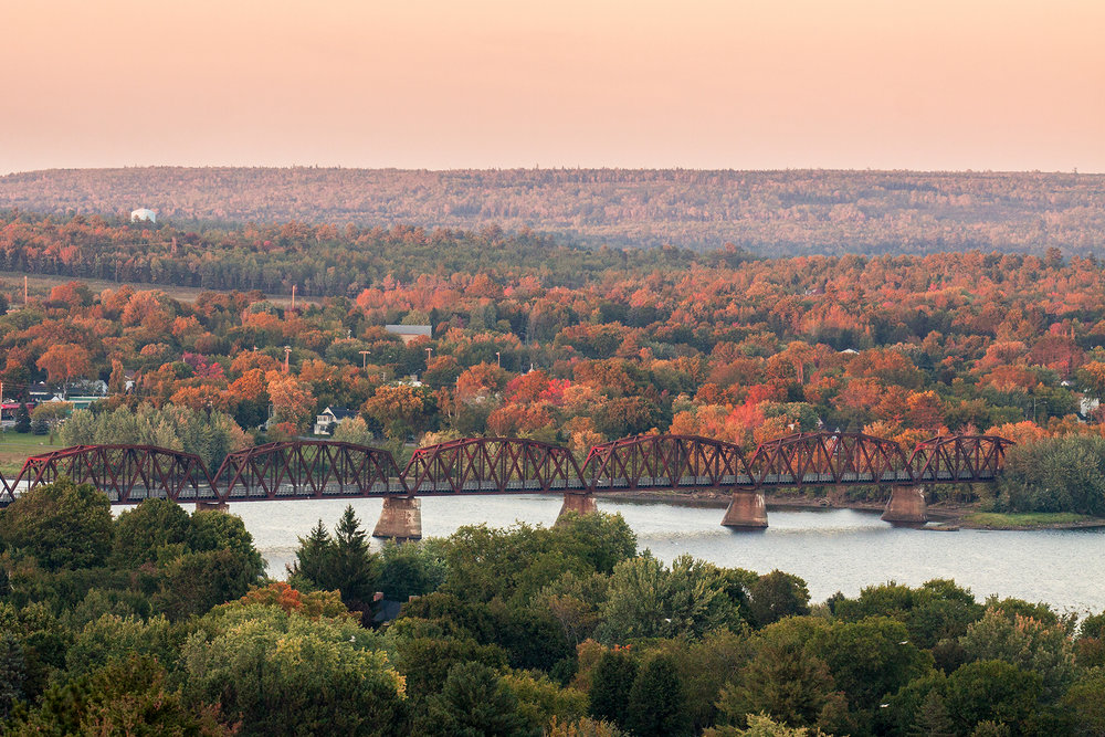 Fall colour creeps through the Saint John River valley.  Buy Print