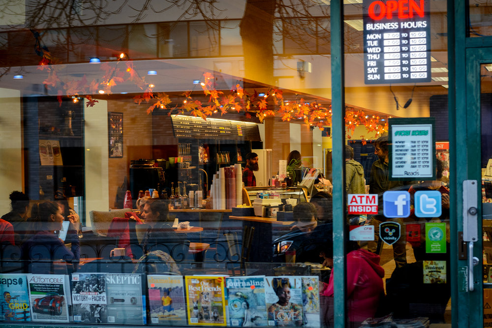 Read's Newsstand decked out in fall colour in downtown Fredericton.  Buy Print