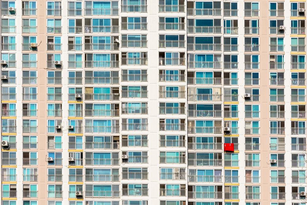 Laundry hangs off a high-rise balcony in Geumho 2-dong, Gwangju.