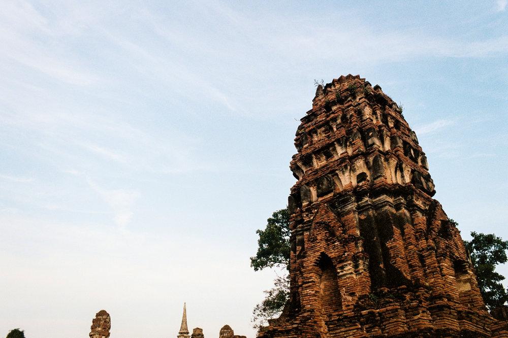 Ruins of a chedi at Wat Maha That in Ayutthaya.
