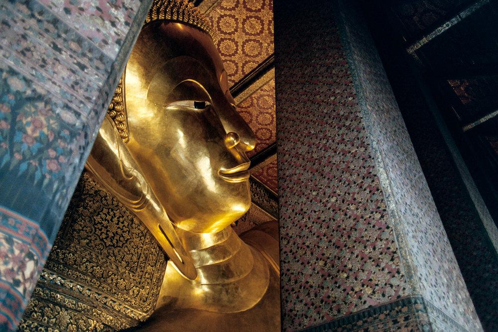The golden reclining Buddha, at Wat Pho in Bangkok.