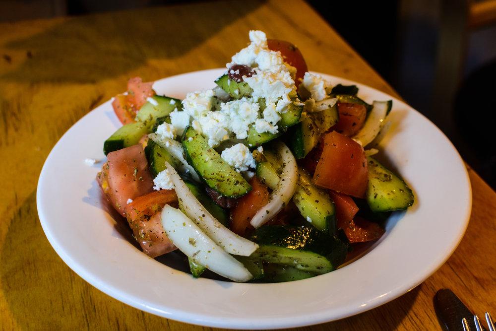 Greek salad, found at El Grekos in Itaewon.