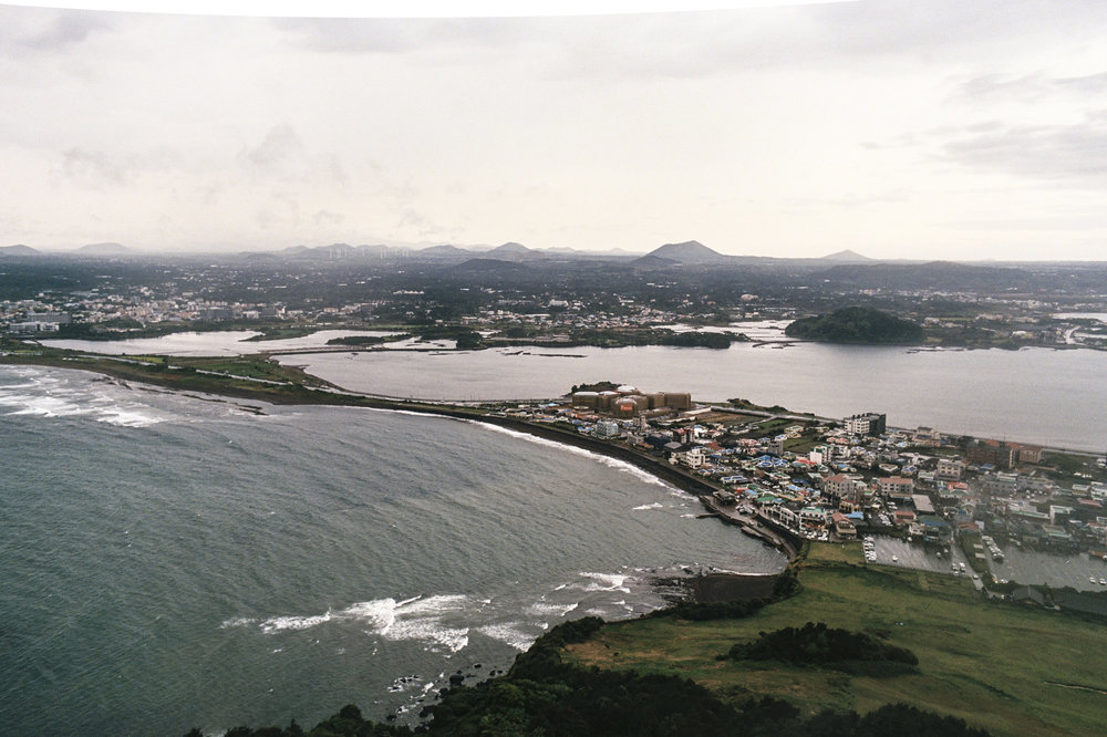 The view from the peak of Seongsan Ilchulbong, on the eastern coast of Jeju.