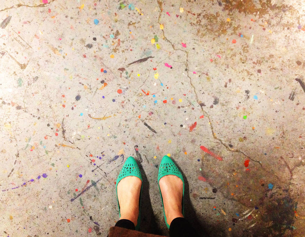 I took a picture of the Jackson Pollock studio floor while waiting for ink to dry.