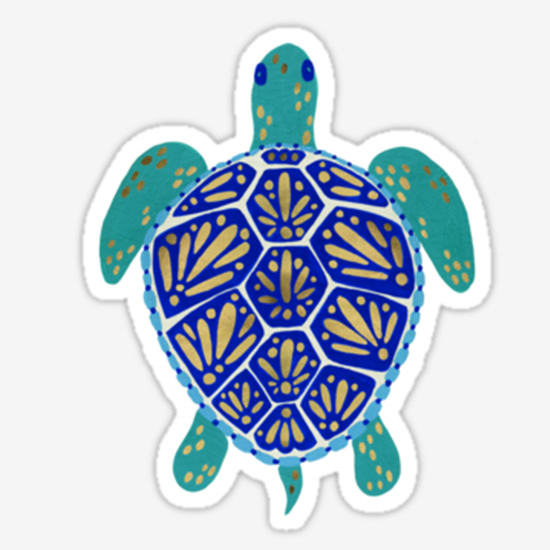 Sea Turtle – Navy & Gold  •  sticker $3.20