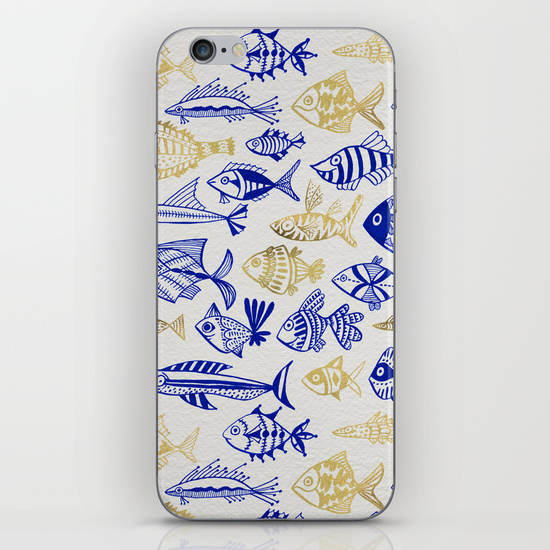 Inked Fish – Navy & Gold   •  phone skin $15