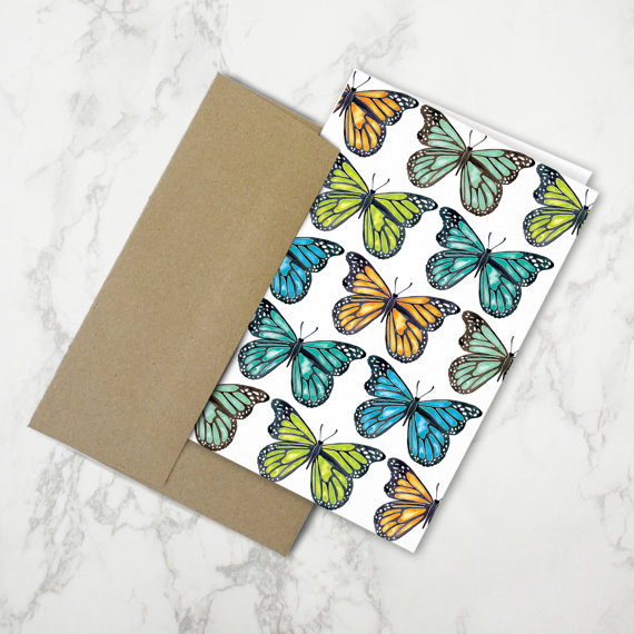 Butterflies  •  stationery card + kraft envelope $4.50