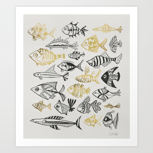 Inked Fish – Black & Gold   •  art print $18–$65